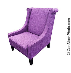 Armchair isolated on white background. Purple color