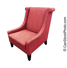 Armchair isolated on white background. Red color