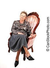 armchair., nő, idősebb ember, rózsaszínű