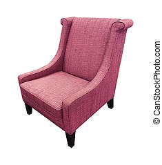 Armchair pink color isolated on white background