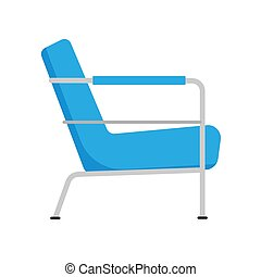 Armchair side view furniture vector icon illustration isolated. Modern interior comfortable home seat relax flat element
