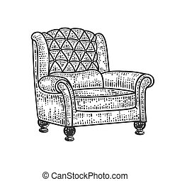 armchair sketch engraving vector illustration. T-shirt apparel print design. Scratch board imitation. Black and white hand drawn image.