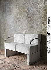 armchair - 3D rendering of an uncomfortable stone armchair