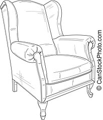 armchair - technical drawing