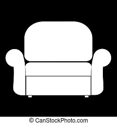 Armchair the white color icon .