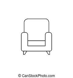 armchair thin line icon, outline vector logo illustration, linea
