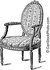 Armchair upholstered in chintz, vintage engraving. - ...