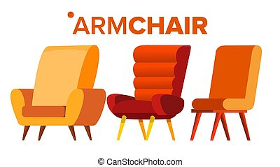Armchair Vector. Home Furniture Isolated Flat Cartoon Illustration
