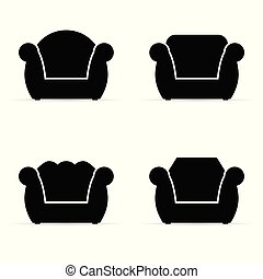 armchair vector silhouette in black