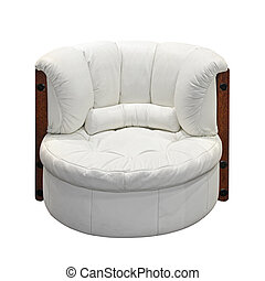 Armchair - White leather armchair isolated included clippig...