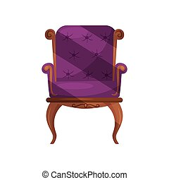Armchair with purple velvet trim. Classic wooden chair. Item for home interior. Furniture for living room. Flat vector design