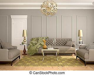 armchairs., 部屋, 内部, 3d, 暮らし, クラシック, ソファー, 現代, イラスト, スタイル