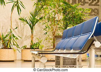 waiting room of airport - Armchairs in a waiting room of...