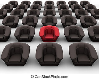 armchairs., leadership., 3d
