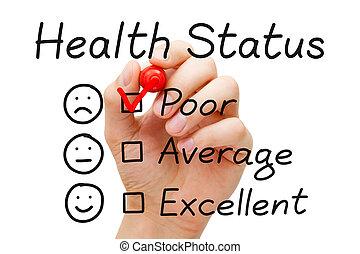 arme gezondheid, status, onderzoeken; inspecteren;
