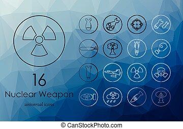 arme nucléaire, ensemble, icônes