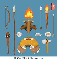 arme, pierre, vecteur, illustration., chasse, gens, maison, âge, vie, symboles, aborigène, historique, primitif, primordial