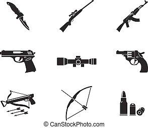 arme, simplement, icônes