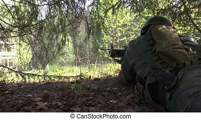 arme, uniforme, arbre., peaux, sous, militaire, homme