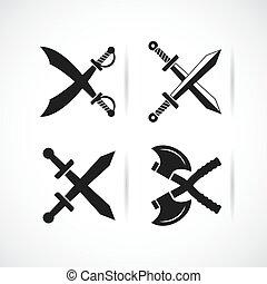 arme, vieux, vecteur, traversé, icône