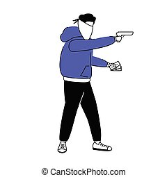 Armed burglar flat color vector faceless character. Man with...