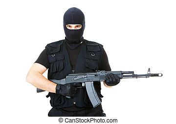 Armed criminal - Portrait of violent killer holding firearm...