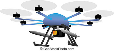 armed drone - illustration of an eight rotor drone with...