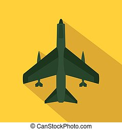 Armed fighter jet icon, flat style