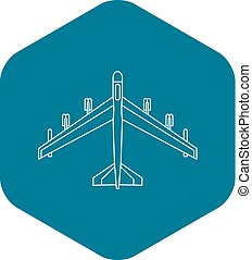 Armed fighter jet icon, outline style