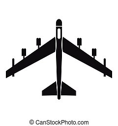 Armed fighter jet icon, simple style