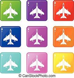 Armed fighter jet set 9 - Armed fighter jet icons of 9 color...