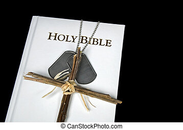 Armed Forces - Cross and military dog tags on Holy Bible.