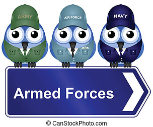 Armed Forces Sign isolated on white background