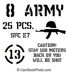 Armed forces stencil sign collection. Black on white...