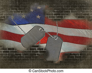 Military dog tags on American flag with broken brick wall.