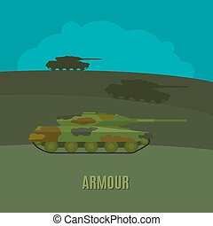 Armed forces tanks - Armed forces, tanks on navy green...