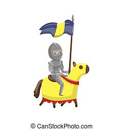 Armed knight riding horse, fairytale or medieval character cartoon vector Illustration