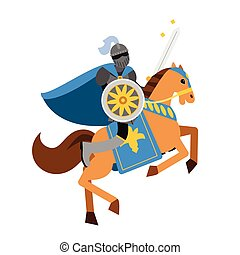 Armed knight riding horse medieval character, colorful vector Illustration