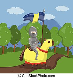 Armed knight riding horse on summer landscape background vector Illustration