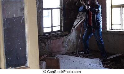 armed man - a cornered gunman surrenders
