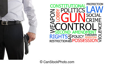 Armed man next to gun control word cloud - Man in suit with...