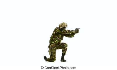 Armed man stands on one knee. White backgraund - Armed man...