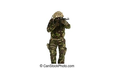 Armed man. White backgraund - Armed man, a man in camouflage...