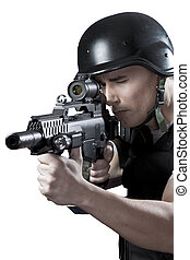 Armed military shooting, isolated