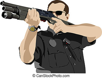 Armed policeman preparing to shoot with automatic rifle....