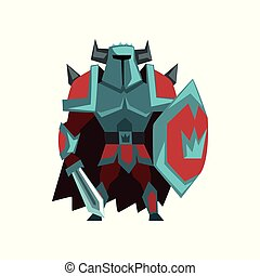 Armed powerful knight in helmet with horns and sword, fantasy creature character vector Illustration on a white background