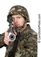 Armed soldier aiming m16