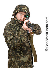 Armed soldier aiming svd