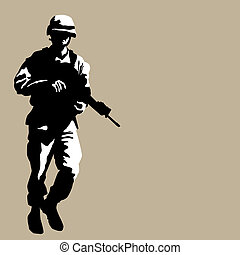 An image of an armed soldier.