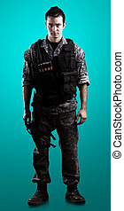 armed soldier isolated on a blue background